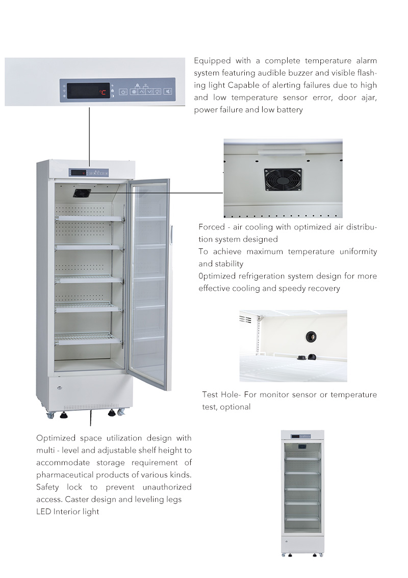 316L 2 to 8 Degree Pharmacy Refrigerator with Automatic Rebound Heating Glass Door