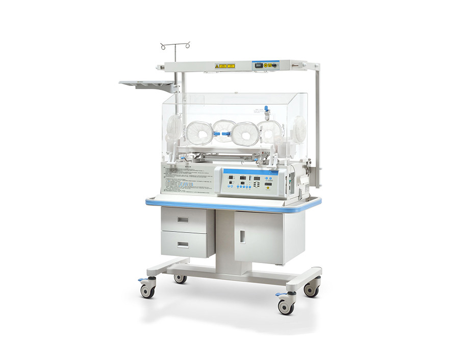 Infant Incubator Configured with Fixed Neonate Bilirubin Phototherapy Equipment
